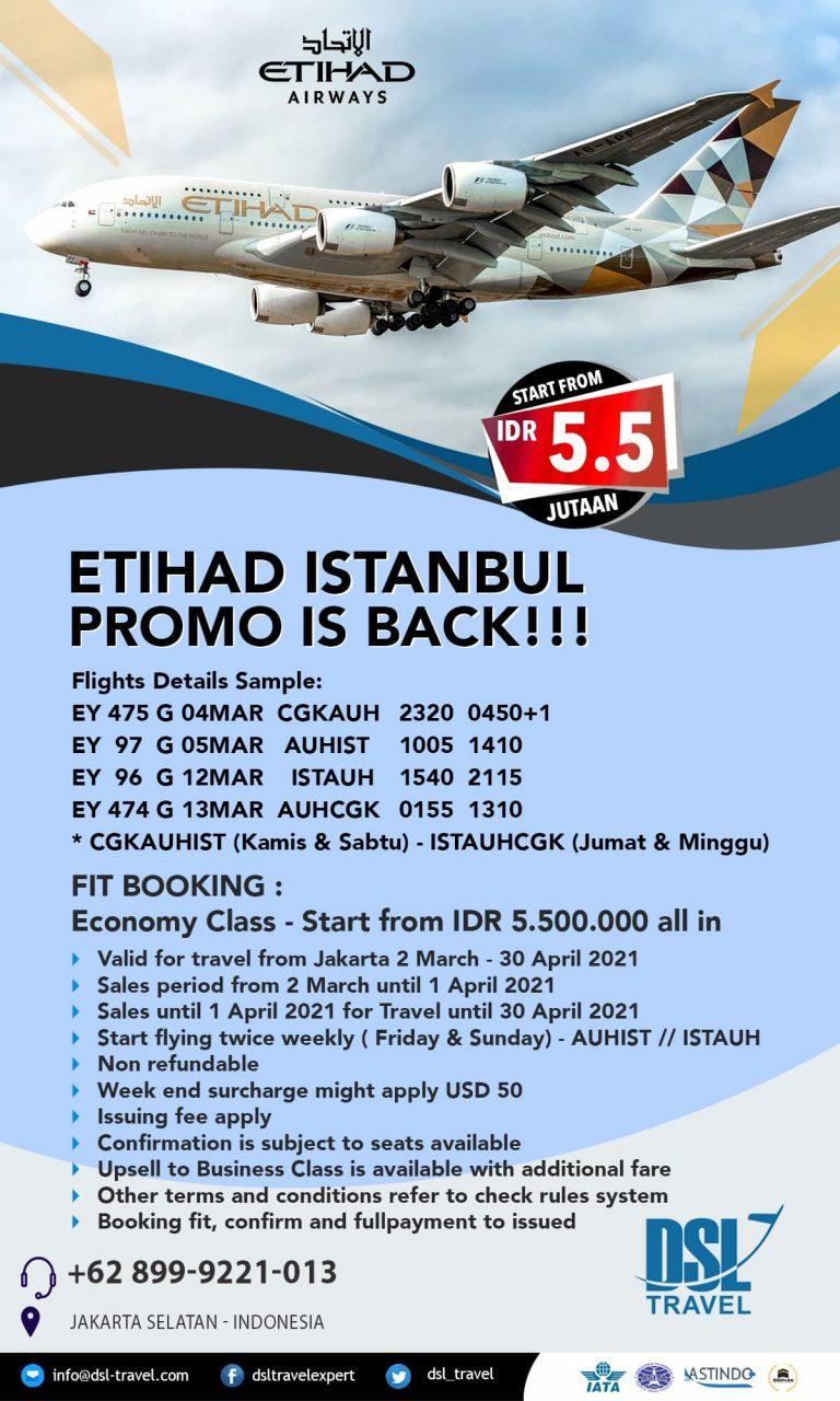 Tiket Pesawat Etihad Airways Jakarta – Istanbul – Jakarta